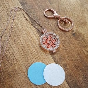 Jewelry - Aromatherapy diffuser necklace and keychain set